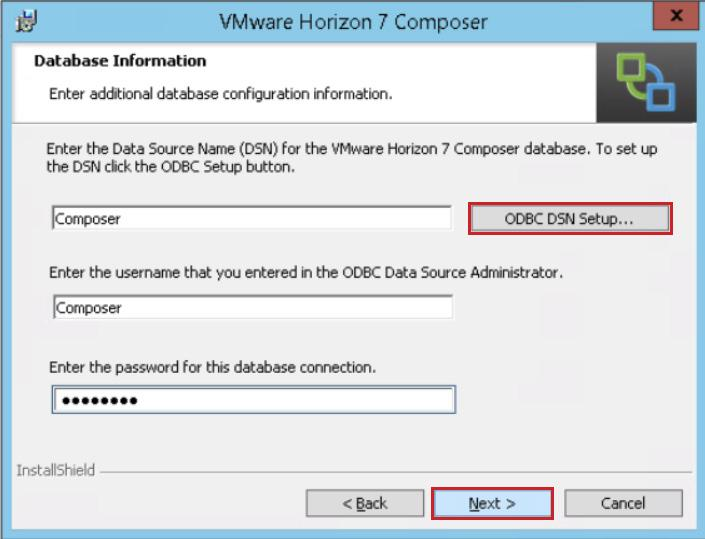 On the Database Information page, click ODBC DSN Setup to establish a new DSN to define the