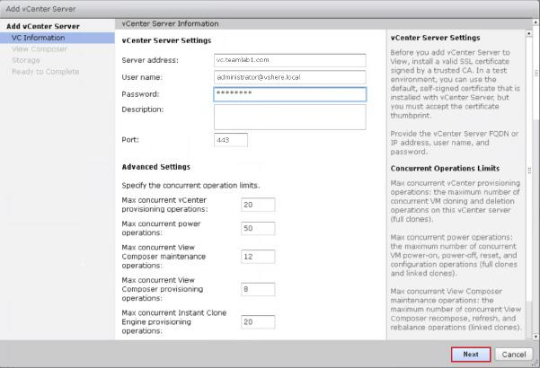 3. On the Add vcenter Server page under VC Information, enter the FQDN or IP address of the vcenter Server instance,