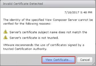 7. If an Invalid Certificate Detected prompt is displayed, click View Certificate. Figure B2-6: View the Invalid Certificate 8.
