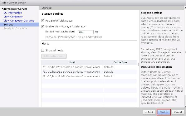 12. Under Storage, accept the defaults for Storage and click Next.