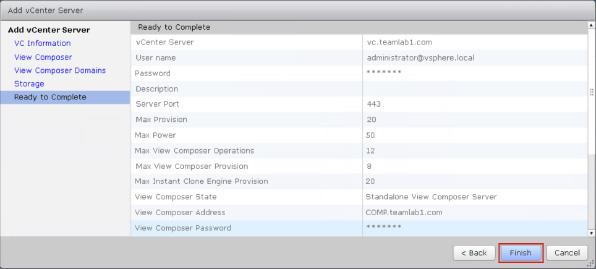 Under Ready to Complete, review the vcenter Server information, and click Finish.