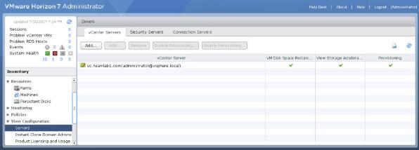 On the vcenter Servers tab, verify the vcenter Server that you just connected to your View