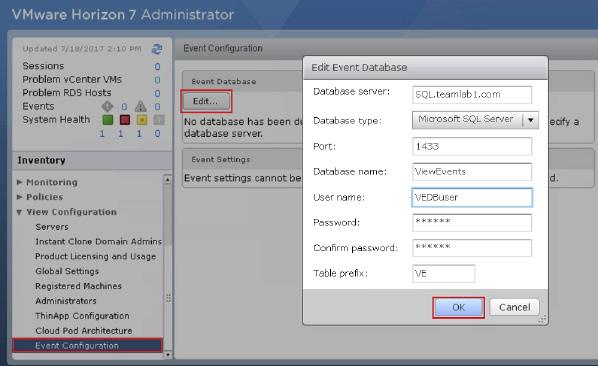 4. In Horizon Administrator under View Configuration, select Event Configuration, click Edit, and in the Edit Event Database page, enter the following information, and click OK.