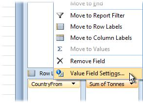 Excel deduced that the field you selected contained numerical values that it could calculate, so it automatically added the field to the Values part of the PivotTable.