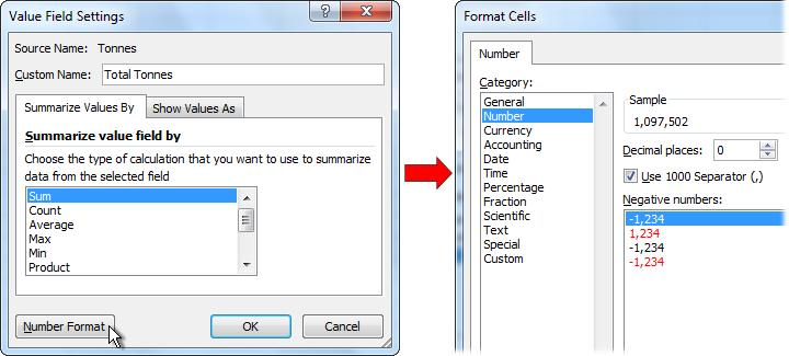 Step 7: In the Custom Name textbox of the Value Field Settings dialog, change the field s label to Total Tonnes.
