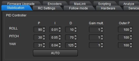 Using the Software PC/MAC PID control 5. Gradually increase the P value on the axis to be set.
