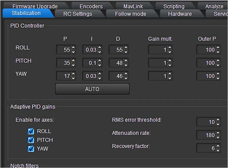 Using the Software PC/MAC PID control 5.10.2 Automatically optimize the PID control settings 11. Automatically optimize the PID control settings. Before you start ensure that the Gimbal is stable.