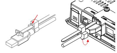 3. Adjust the position of the retaining clamp by pushing the lever of the retaining clamp. Then close the retaining clamp to fit the cable size.