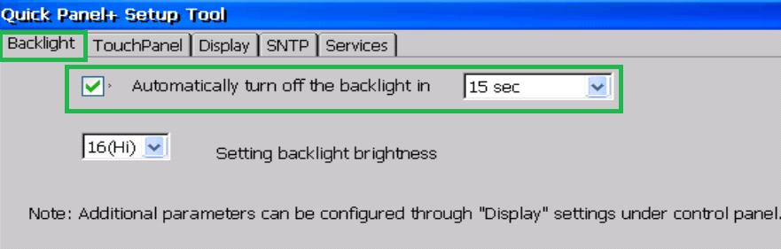 6.1.2 Display Backlight Configuration To configure the display backlight 1. Open the QuickPanel + Setup Tool and select the Backlight tab to display the Backlight Display Properties window. 2.