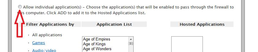 Select the radio button to Allow individual application(s) You should see the name you chose in step #8a, Apex Controller listed in the Application List box.