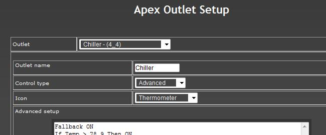 "Outlet Programming (Setup) The Apex web software comes with some ""fill in the blanks"" setup screens for programming basic device types like lights, pumps, heaters or chillers."