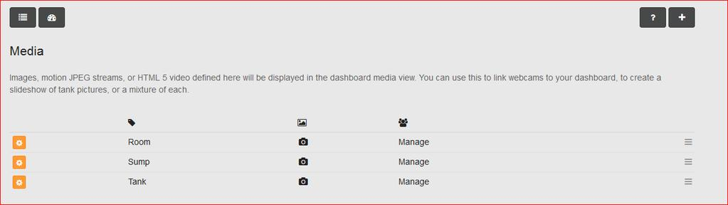 The + icon will let you add a new media element. The gear icons let you edit an existing media element, remove an element or view the element in a standard browser window.