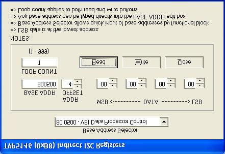 SLEU0 8... Indirect Register Editor The indirect register editor, as shown in Figure, allows the display and editing of the indirect registers (or hardware registers) of the device.