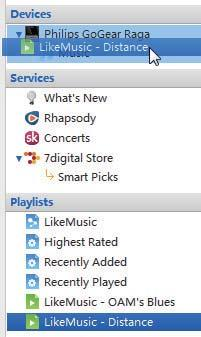 1 Select the player under Devices. 2 On the pop-up window, click the Music or Videos tab.