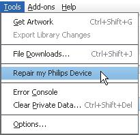 16 Repair the player through Philips Songbird If ARIAZ is not working properly or the display freezes, you can reset it without losing data: To reset ARIAZ?