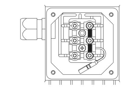 a) motor cable: Locate the motor connections, labeled U, V, W inside the Hydrovar. Connect wires to the terminals and rout the cable through the cable gland.