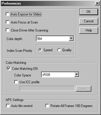 SETTING THE PREFERENCES 1. Click on in the Command window. The Preference Dialog Box Name of parts Color Matching settings (See page 94) 2. Set the preferences as desired.