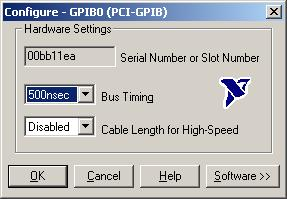 Configure the GPIB software for the PCI-GPIB interface, as follows: a. Click on Configure in the GPIB Configuration dialog bo