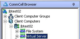 Configuring the Virtual Server Agent Within the CommCell Console, expand Client Computers in the CommCell