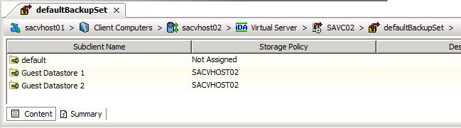 Running a backup CommVault has the option to run a backup of a single Subclient, or all Subclients at once.