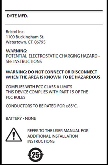 Appendix D: ATEX Flame-Proof Zone 1 Certifications The data plate and certain conditions of use are shown below.