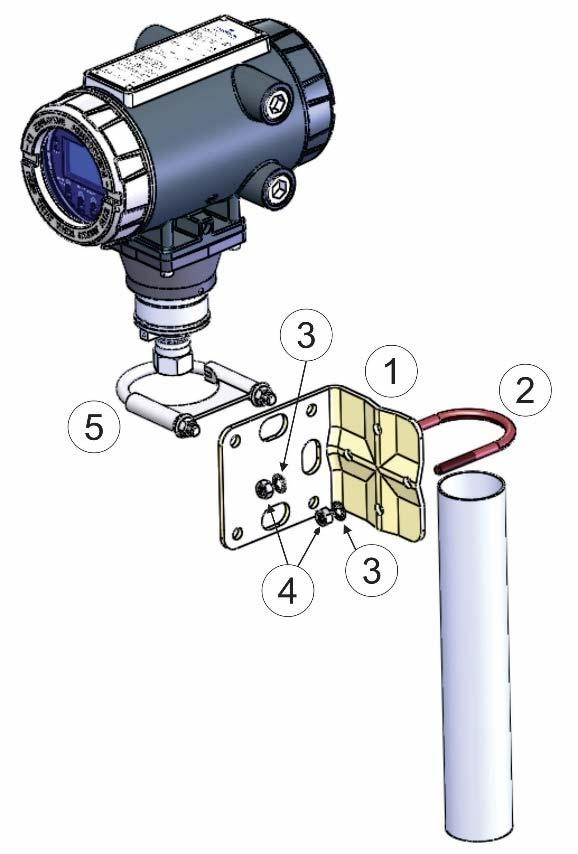 Figure 2-16: Inline Mounting Kit 1 Pipe mounting bracket 2 2 ½ inch x 5/18-18 thread 300-series U-bolt 3 5/16 flat lock washer (2) 4 5/16-18 300 series passivate hex
