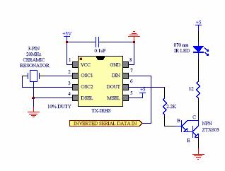 Electronics. This chip ramps up the voltage from TTL serial output to provide sufficient voltage such that an infrared LED will transmit signals to be picked up by an infrared receiver.