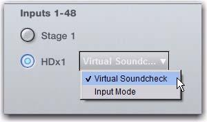 Enabling Virtual Soundcheck Mode In Virtual Soundcheck mode, audio from Pro Tools replaces the corresponding Stage inputs one-for-one, and appear in place of those Stage Inputs in the VENUE Patchbay.