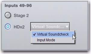 All changes to your live mix (such as channel assignments, and input and output processing) carry over when you switch to Virtual Soundcheck mode.
