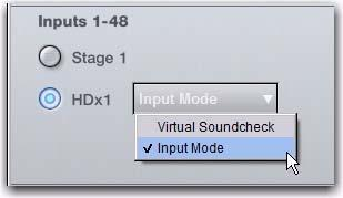 The Stage tabs in the Patchbay are replaced by HDx tabs, and all Stage routing is preserved. Audio from Pro Tools is sent to connected HDx card ports.