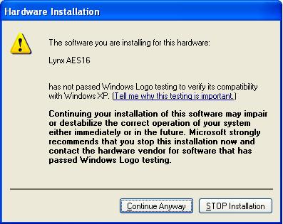 (NOTE: In Windows 2000, choose AES16 from the list, then click Next>.