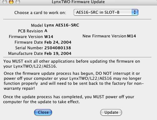 Installation Procedures 6. In a few moments, the Lynx Two Firmware Update dialog box should appear.