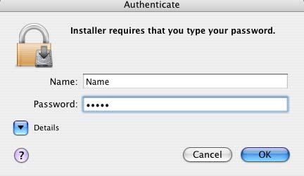 Enter your password in the Authenticate dialog box and click