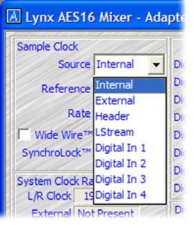 Source This control selects the clock source that drives the sample clock generator from the following options: Internal External Header LStream Digital In 1 Digital In 2 Digital In 3 Digital In 4