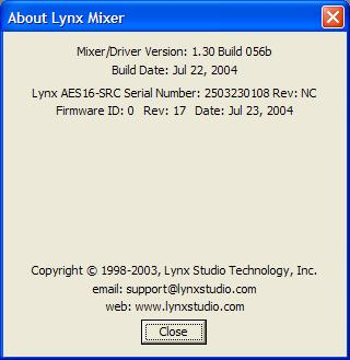 Lynx Mixer Reference 2$ About Lynx Mixer PLEASE NOTE: The About Lynx Mixer window will display different information than what is shown here.