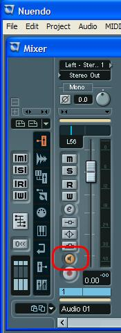 Using the AES16 Click the speaker icon in the Cubase 2/Nuendo 2 Mixer window to enable Direct Monitoring.