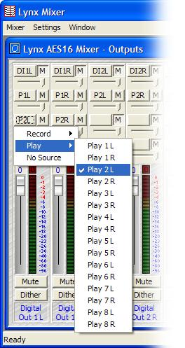 Using the AES16 Selecting Play 2 (P2L and P2R) in the next set of Monitor Source Buttons down, and un-muting this source, allows you to monitor audio from Play 1 and Play 2 out of Digital Out 1 at