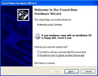 Installation Procedures 2.2.2 Installing the Windows Version 2 Driver Package 1. When you start Windows after installing the AES16 into your computer, the New Hardware Wizard will appear.