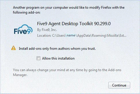 Installing and Using the Five9 Adapter for Velocify Activating the Five9 Softphone Toolbar Firefox Before starting the softphone for the first