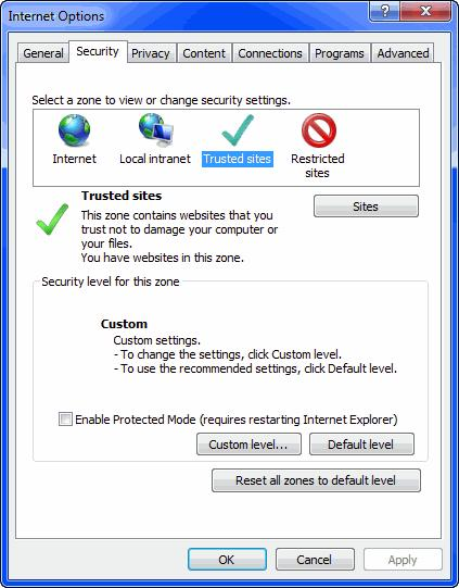 Installing and Using the Five9 Adapter for Velocify Optional Browser Configuration 2 In the Internet Options, select the