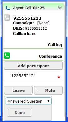 Processing Calls Transferring Calls 5 To end the conference call with all participants, click Hang up. 6 Click Finish and select a disposition.