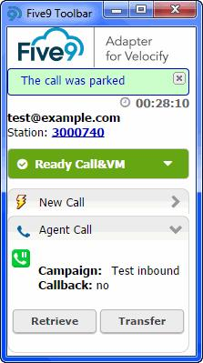 Processing Calls Managing Calls on Hold and Parked Calls Parked call notification. New call tab.