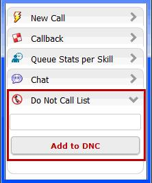 Processing Calls Adding Numbers to the DNC List b c Enter the ten-digit phone number. Click Add to DNC.