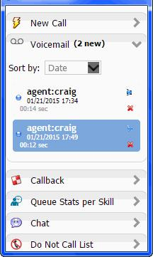 Personal Voicemail Messages When you receive voicemail messages, the Voicemail tab appears below the New Call tab and the Incoming Voicemail tab, if present, as shown in the figure below.