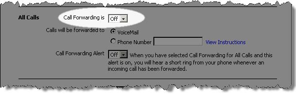 6. In the appropriate section, click the Call Forwarding is drop-down menu and select the status you would like. To activate the feature, select On from the list.