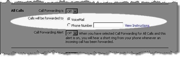 In the Calls will be forwarded to field, click the radio button for the destination to which you would like your calls forwarded: VoiceMail or a Phone Number.