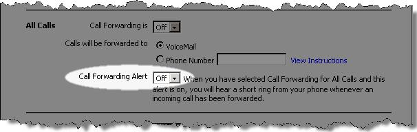 9. If you are activating the All Calls Call Forwarding feature, click the Call Forwarding Alert drop-down menu to select whether you would like to