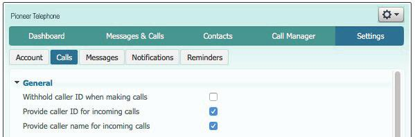 CALLS This screen allows you to customize Caller ID Display (if subscribed), Call Forwarding and Call Blocking.
