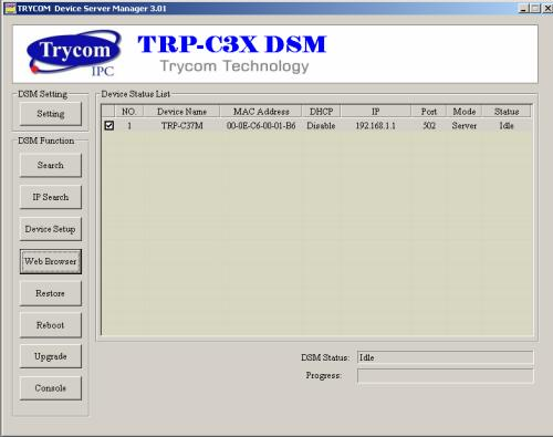4-1. Using TRP-C3X DSM Utility. The TRP-C3X DSM software performs several functions: A: Searching for TRP-C37M connected to the network. B: Displaying and changing the configuration of TRP-C37M.