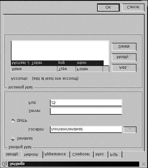 The Settings dialog box has six tabs: Identity, Network, Appearance, Composer, Misc, and PGP. At a minimum, you should visit the Identity and Network tab pages and provide the information required.